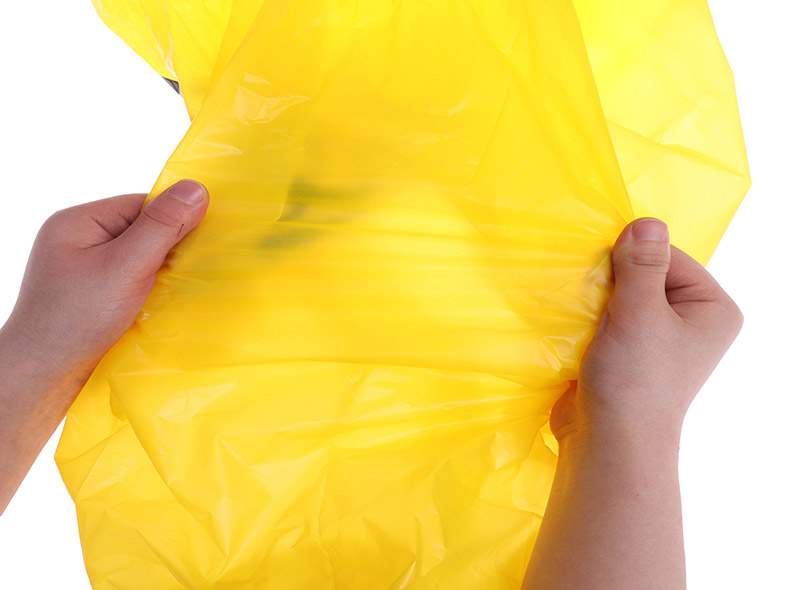 Yellow Medical Garbage Bag With Biohazard