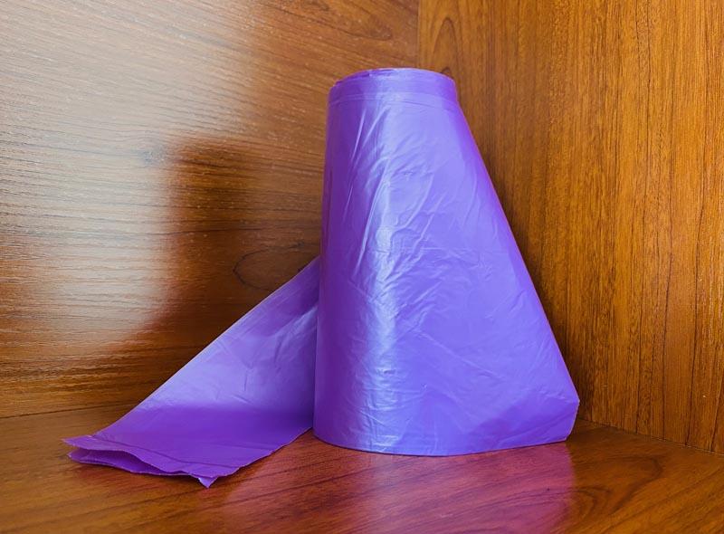 HDPE Purple Rolled T-shirt Garbage Bag