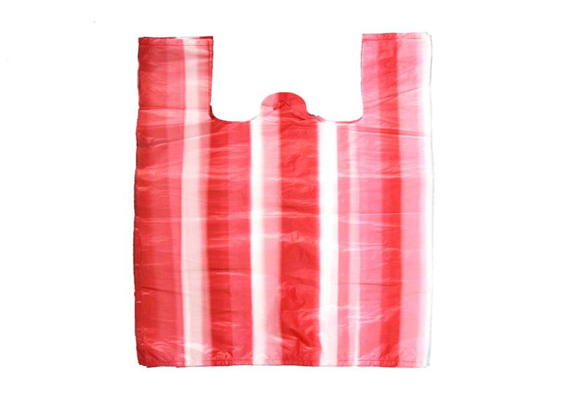 HDPE Red White Stripe T-shirt Bag
