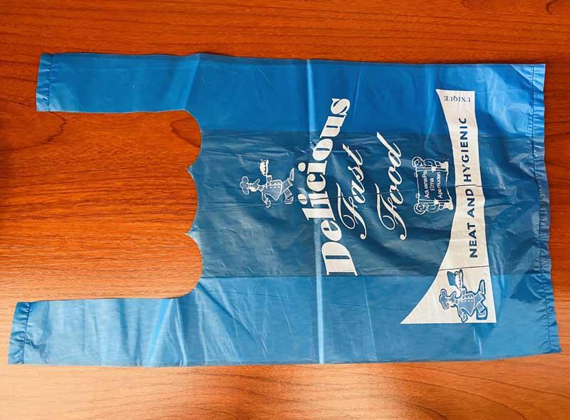 Blue Plastic T-shirt Bag With Print