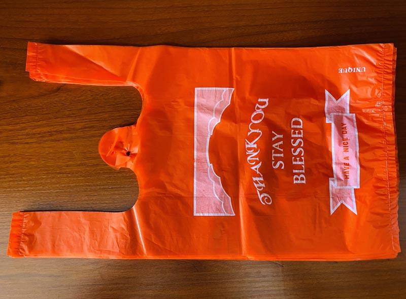 Orange Grocery Plastic T-Shirt Bag