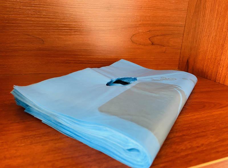 Blue Plastic Die-cut Bag