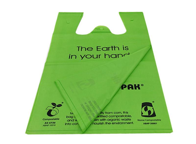 Green Compostable Produce T-shirt Bag