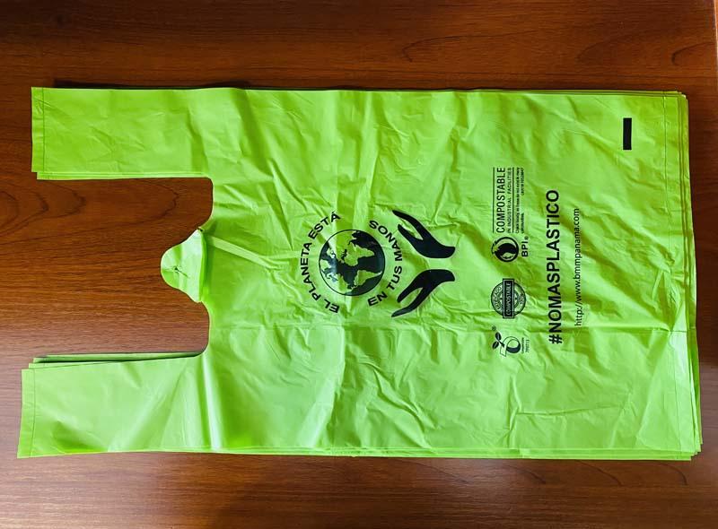 Green Compostable T-shirt Bag