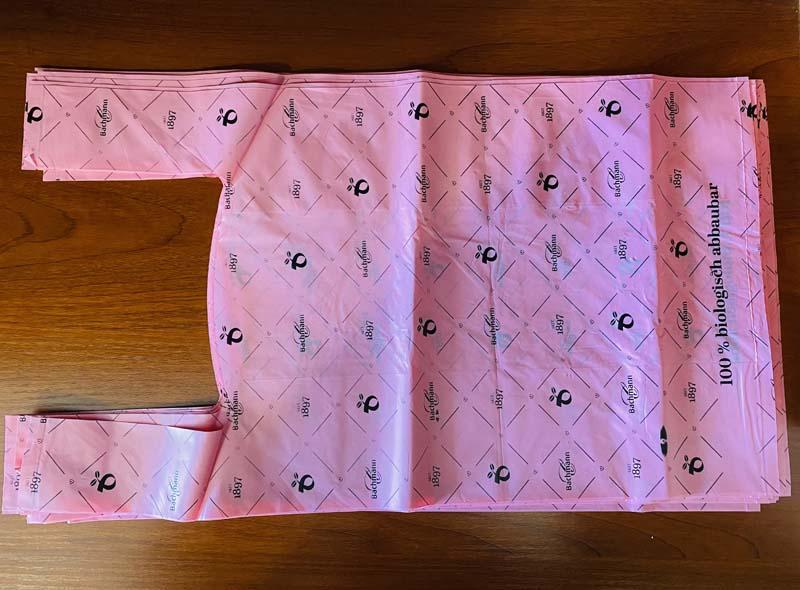 Pink 100% Biodegradable T-shirt Shopping Bag