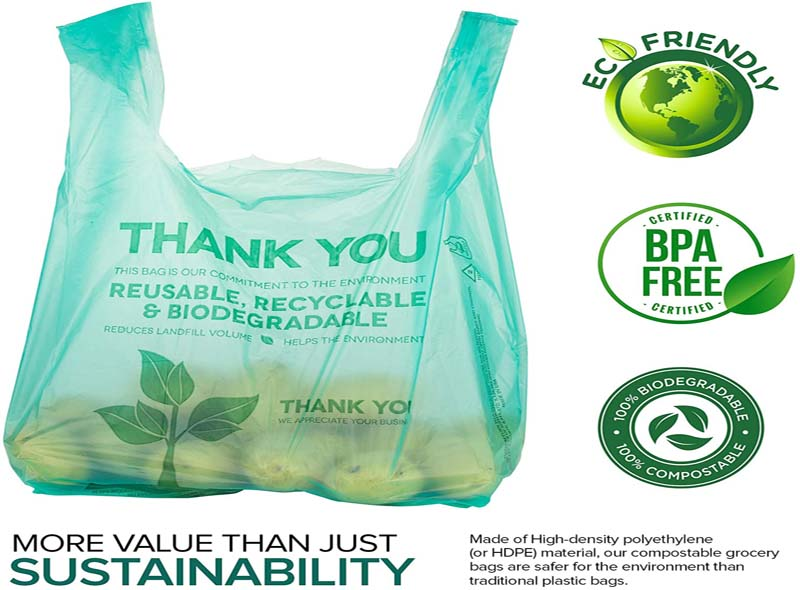 Green 100% Compostable Shopping Bag